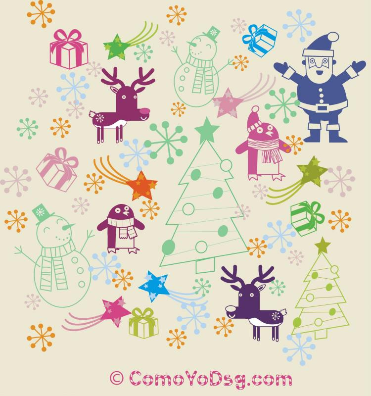 free vector Christmas Pattern Elements
