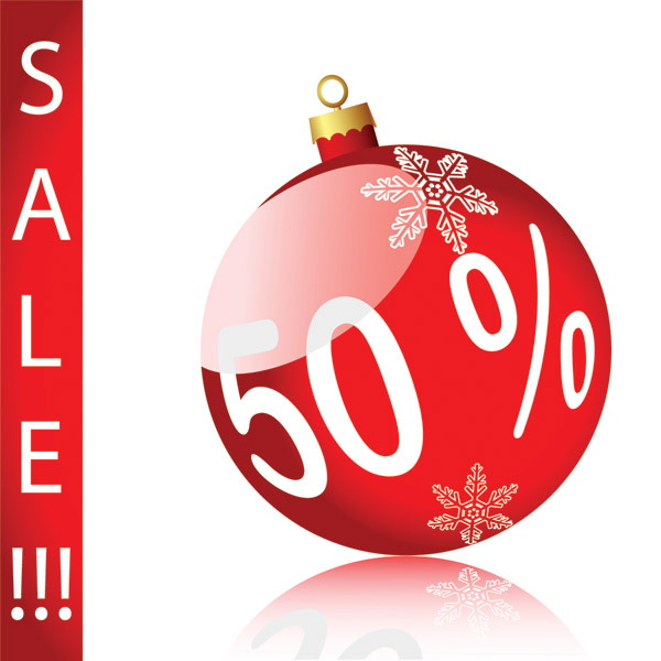 Christmas sales discount decorative elements vector Free Vector ...