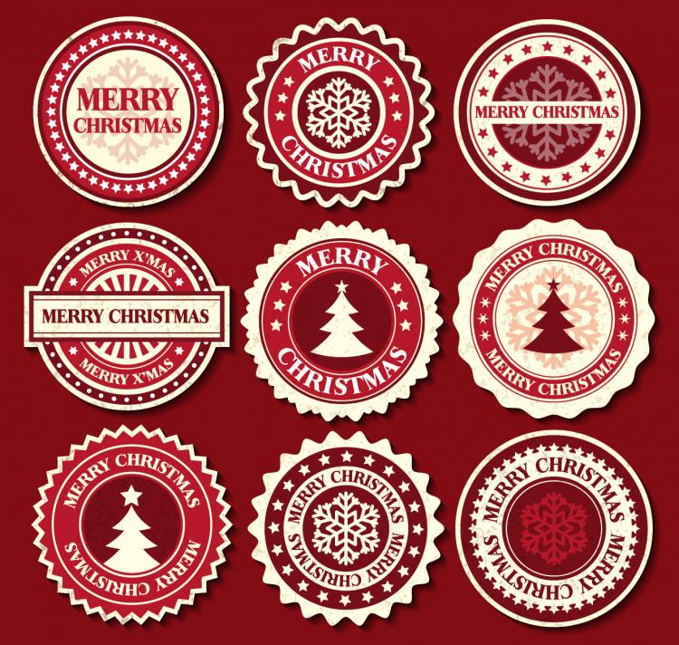 free vector Christmas snowflake pattern label 02 vector