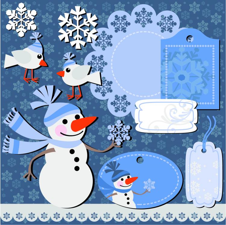 free vector Christmas sticker notes 01 vector