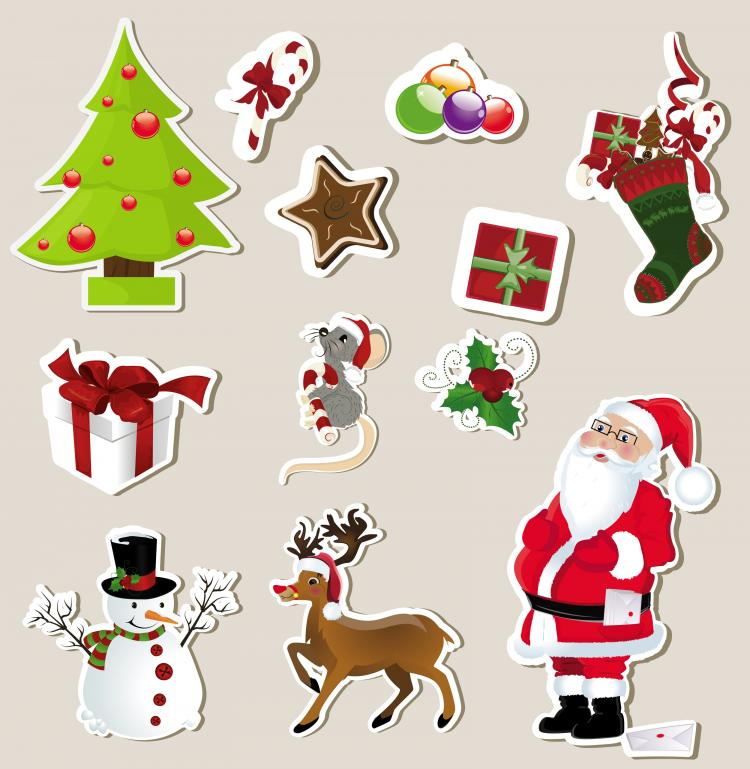 Christmas stickers element 01 vector Free Vector / 4Vector