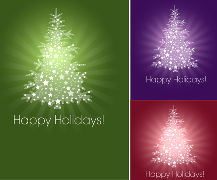 free vector Christmas tree card free vector