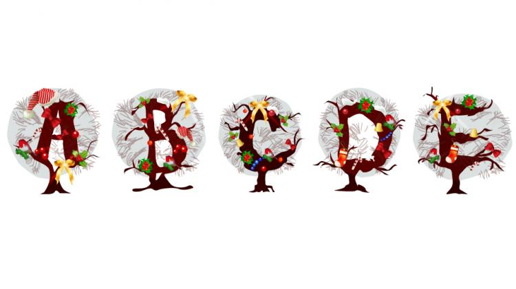 free vector Christmas tree letters 03 vector