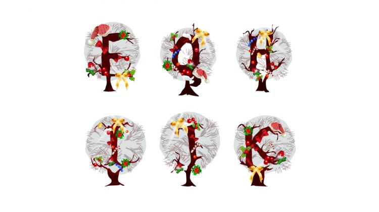 free vector Christmas tree letters 04 vector