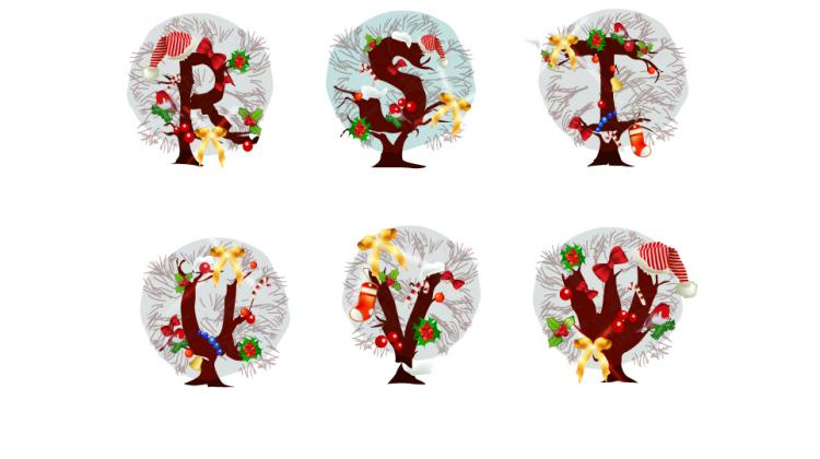 free vector Christmas tree letters 05 vector