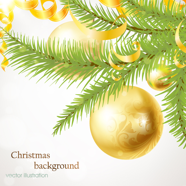 free vector Christmas tree ornaments vector
