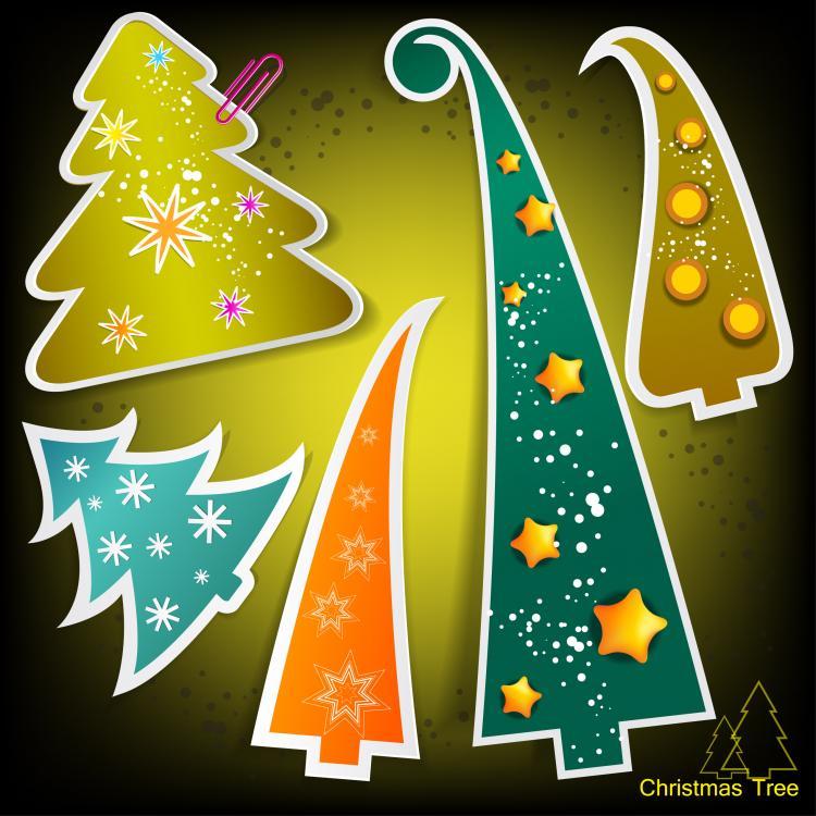 free vector Christmas tree tags 04 vector