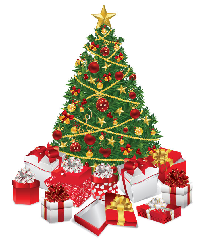 free vector Christmas Tree with Gifts Vector Illustration