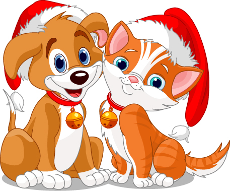 free vector Christmas vector cute cats and dogs