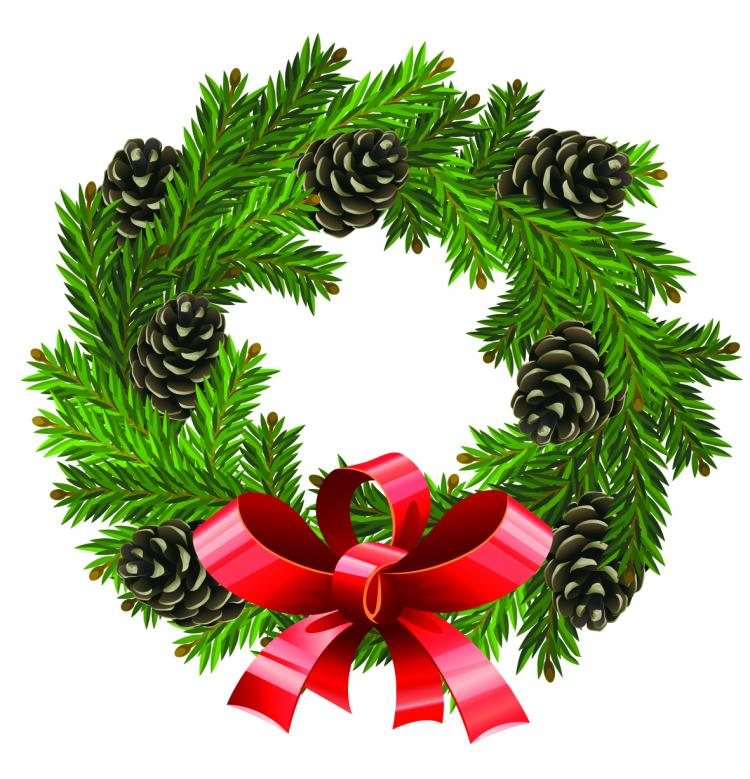 Christmas wreath 1 vector Free Vector / 4Vector