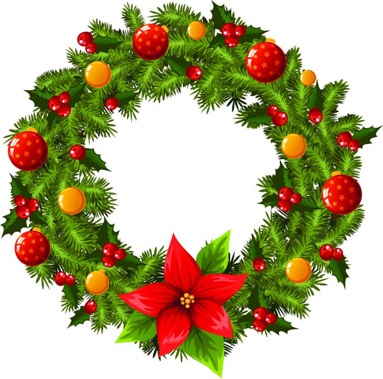 christmas wreath 2 vector free vector 4vector