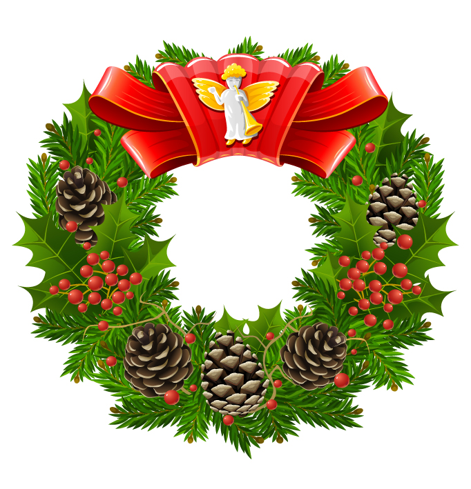 free vector Christmas wreath cool texture vector