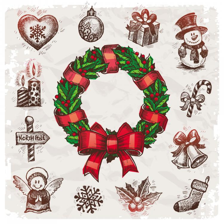 Christmas wreath vector Free Vector / 4Vector
