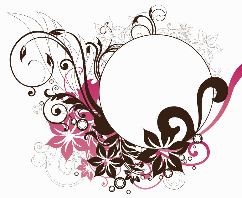 Circle Frame with Floral Decorations Vector Graphic Free Vector ...