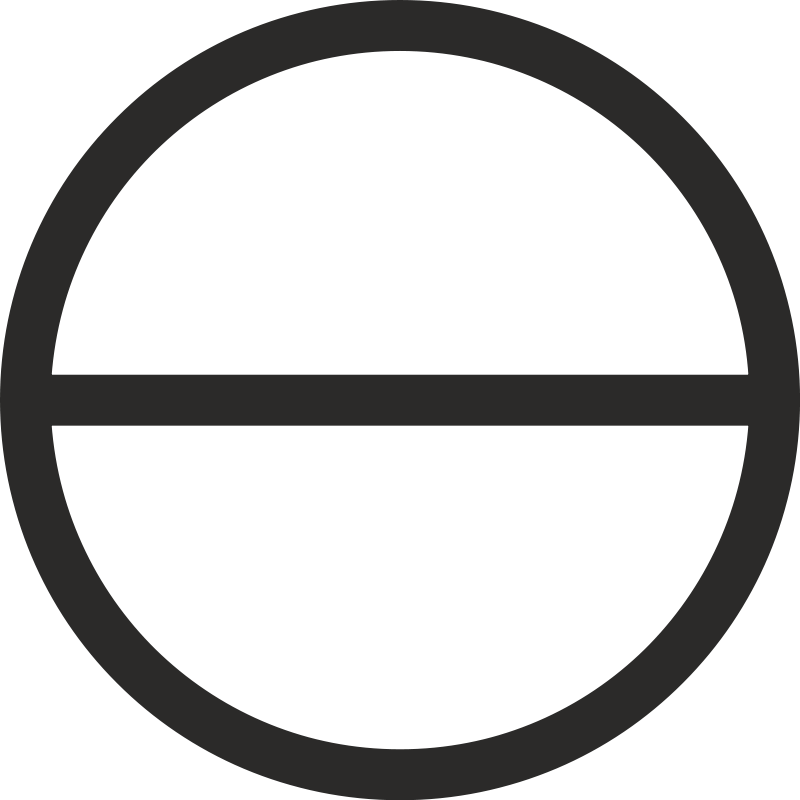 free vector Circle with Horizontal diameter