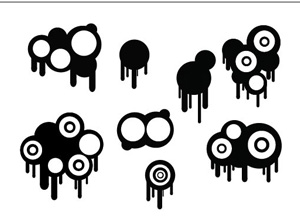 free vector Circles And Drips Set