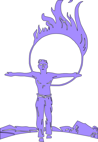 free vector Circus Jumping Through Fire clip art