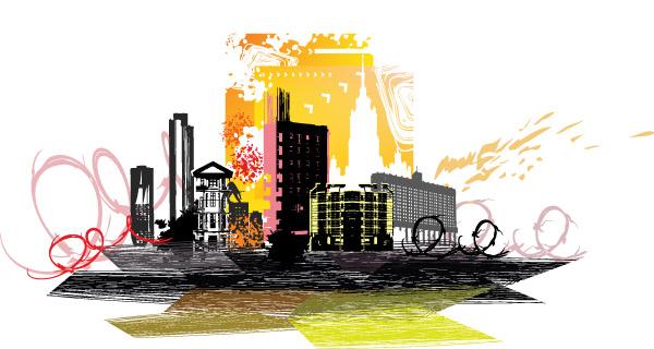 free vector City silhouette 02 vector