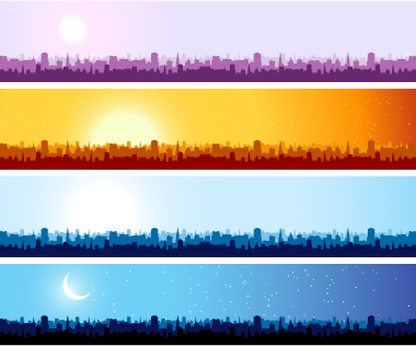 free vector City silhouette banner vector background