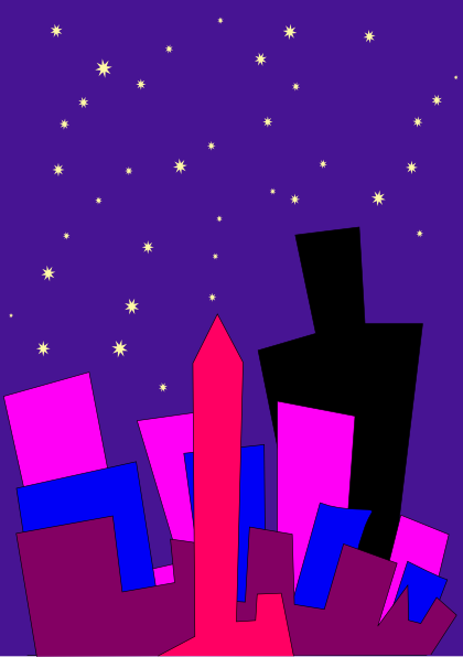 free vector Cityscape At Night clip art 121364