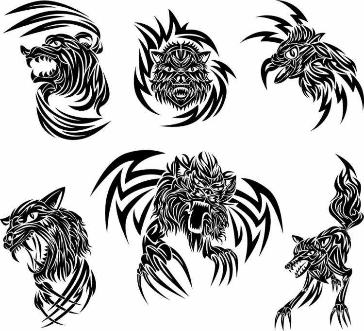 free vector Classic animal tattoo patterns 03 vector