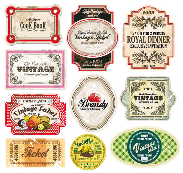 free vector Classic europeanstyle bottle labels and stickers vector