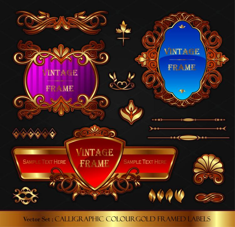 free vector Classic europeanstyle bottle stickers and patterns 02 vector