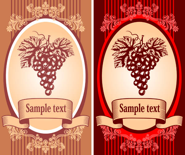 Classic europeanstyle wine bottle stickers vector Free Vector ...