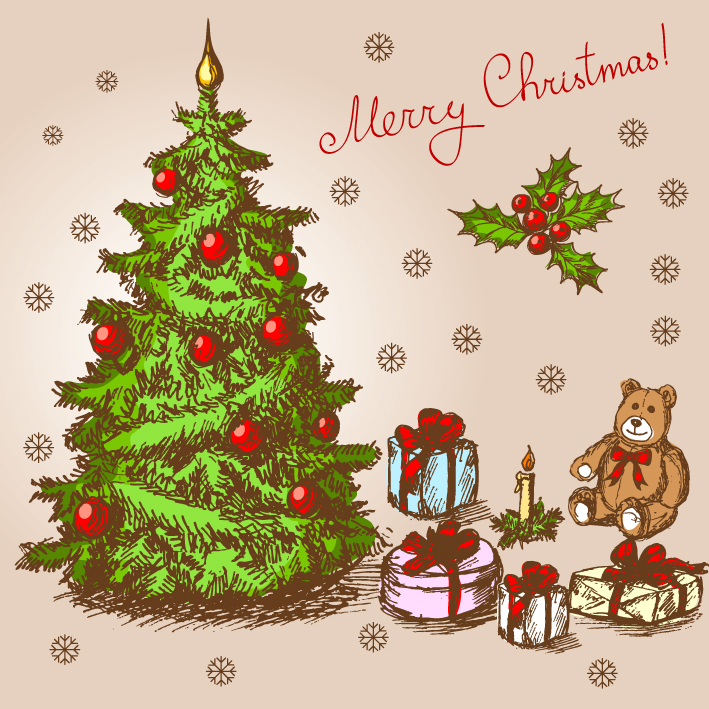 free vector Classic handpainted christmas illustration vector