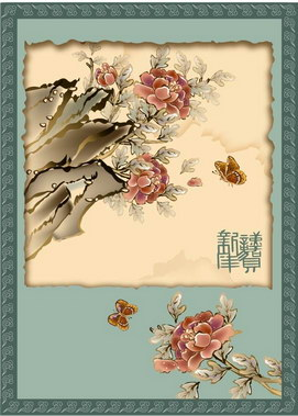 free vector Classic painting flowers on the part of 7p