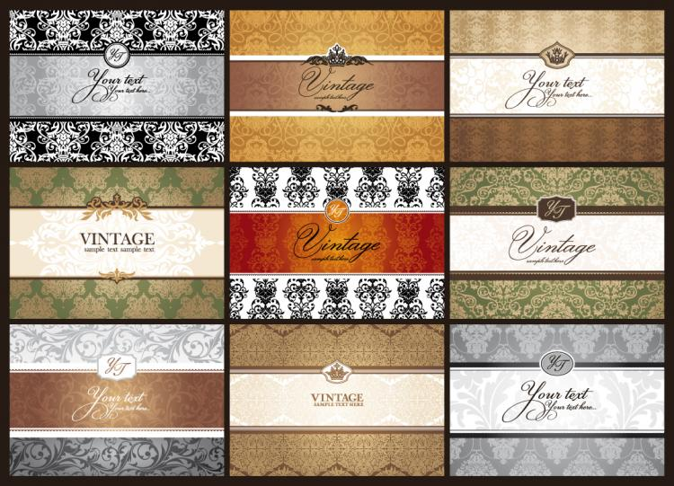 free vector Classic pattern cards background 01 vector