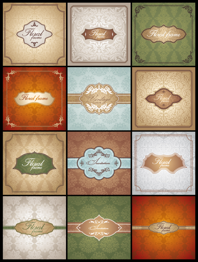 free vector Classic pattern cards background 02 vector