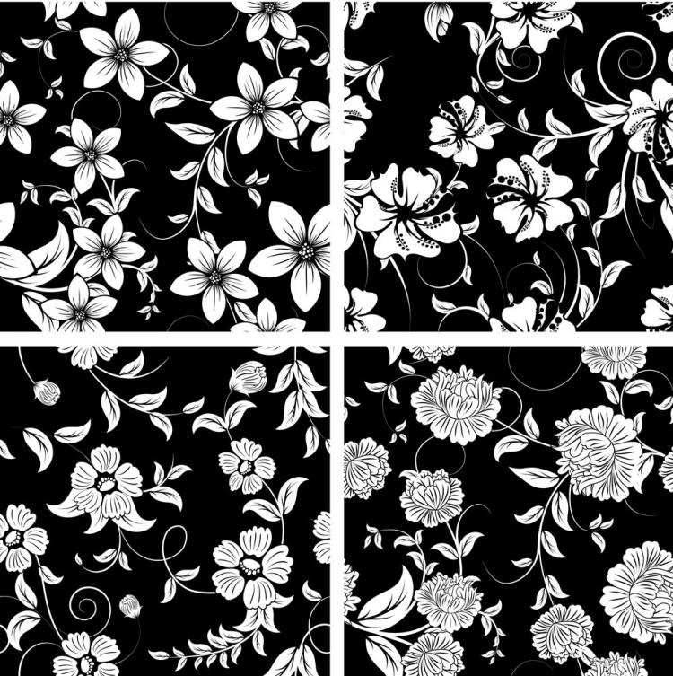 free vector Classic traditional black and white pattern 03 vector
