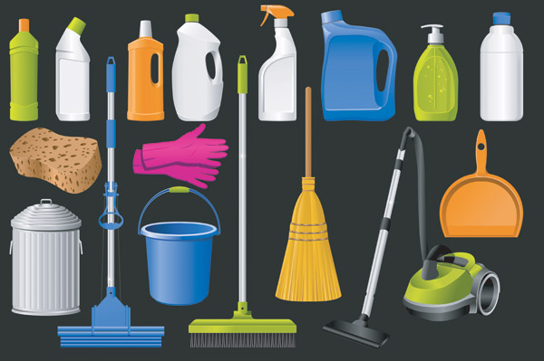 Cleaning Supplies Icon Vector Free Vector 4vector