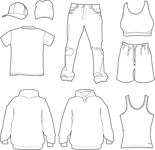 free vector Clothing hats draft line vector