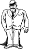 free vector Clothing Man Wearing Bowler Hat clip art