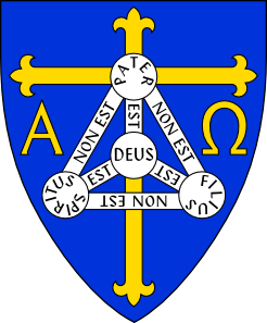 free vector Coat Of Arms Of Anglican Diocese Of TrinidadIncludes Christian Symbols Of Cross, Alpha And Omega, And Shield Of Trinity clip art