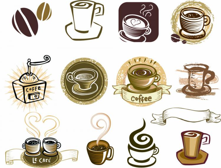 free vector Coffee draft line elements 02 vector