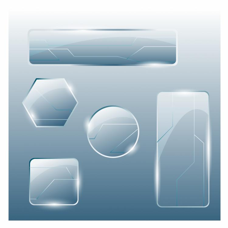 free vector Collection of transparent glass banners