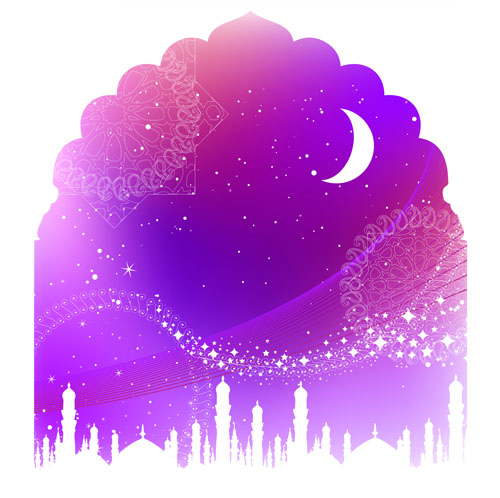 free vector Color landscape architectural silhouette 03 vector