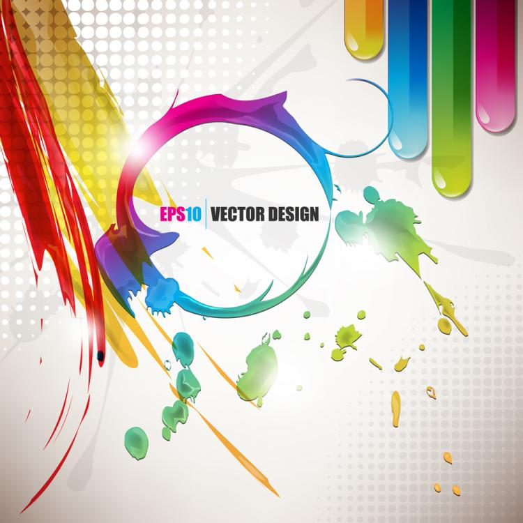 free vector Color paint splashes background 03 vector
