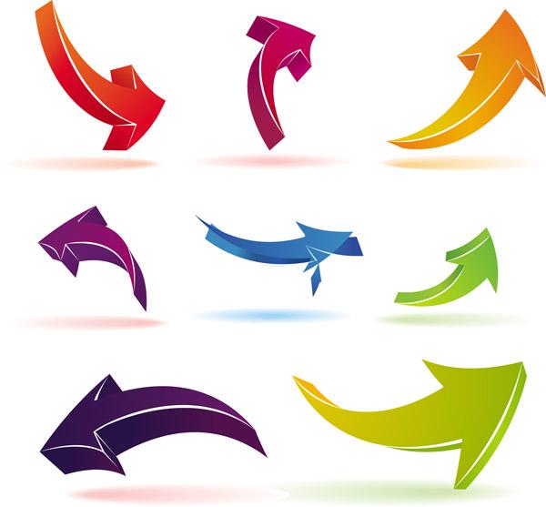 free vector Color threedimensional arrow vector
