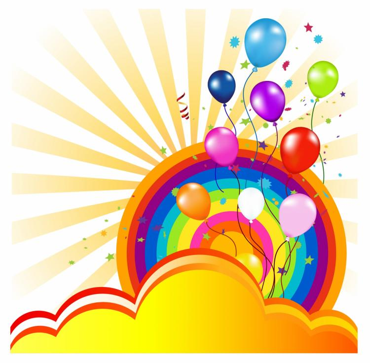 free vector Colorful balloon and rainbow