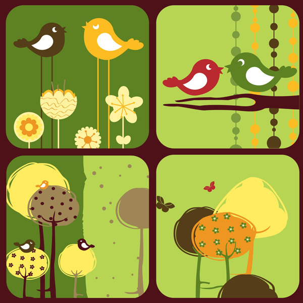free vector Colorful bird theme vector