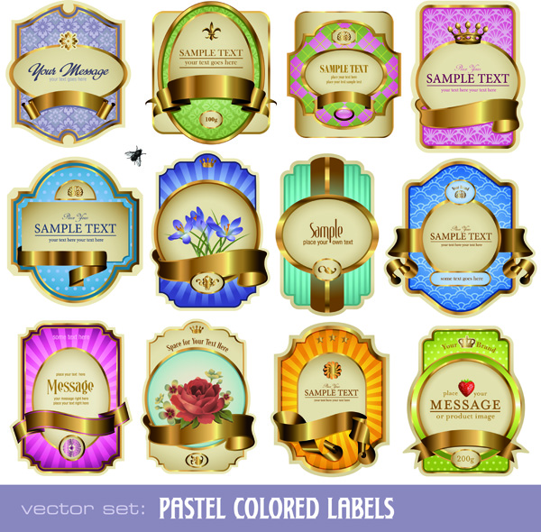 free vector Colorful bottles affixed vector
