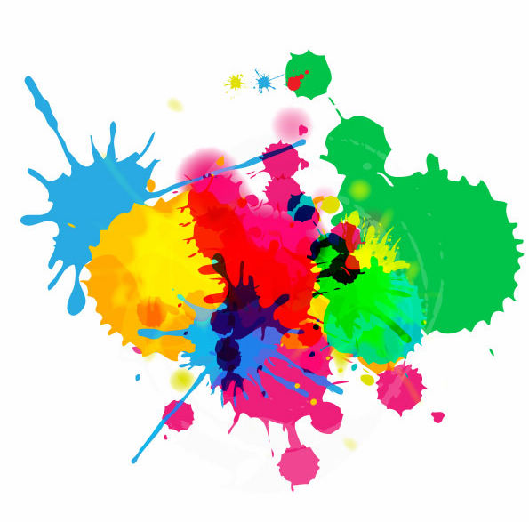 free vector Colorful Bright Ink Splashes on White Background