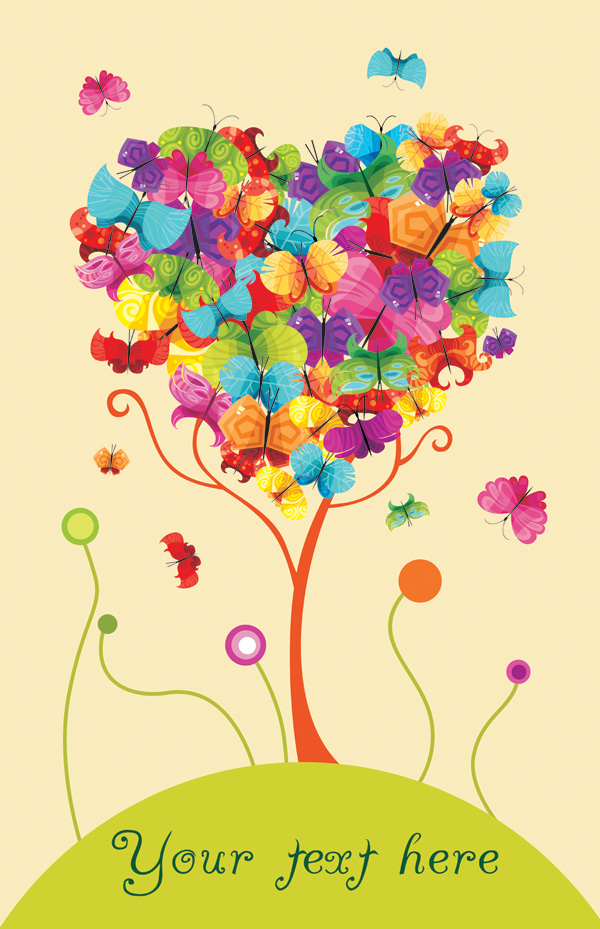 free vector Colorful butterflies vector consisting of trees