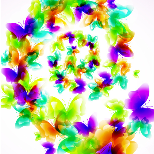 free vector Colorful butterfly pattern 01 vector