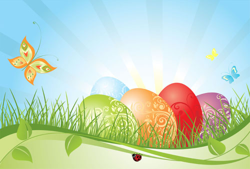 free vector Colorful easter background 02 vector
