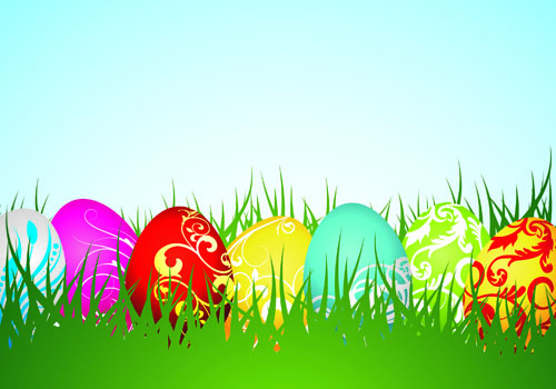 free vector Colorful easter background 04 vector